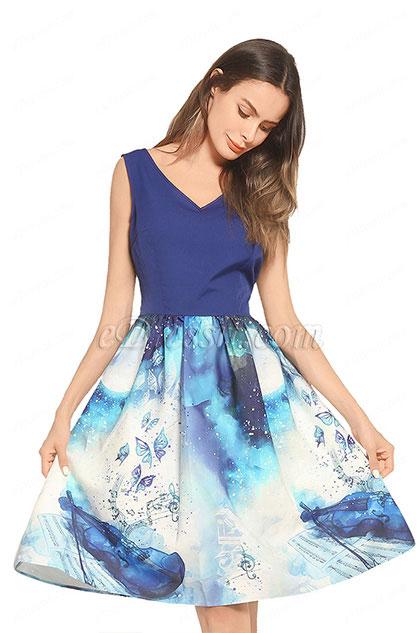 eDressit V-cut Printed Blue Day Dress Cocktail Dress (35194868)