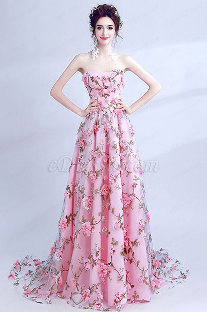 Floral Corset Long Bridesmaid Party Ball Dress