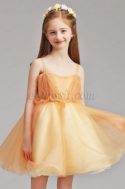 Simple Spaghetti Yellow Wedding Flower Girl Party Dress
