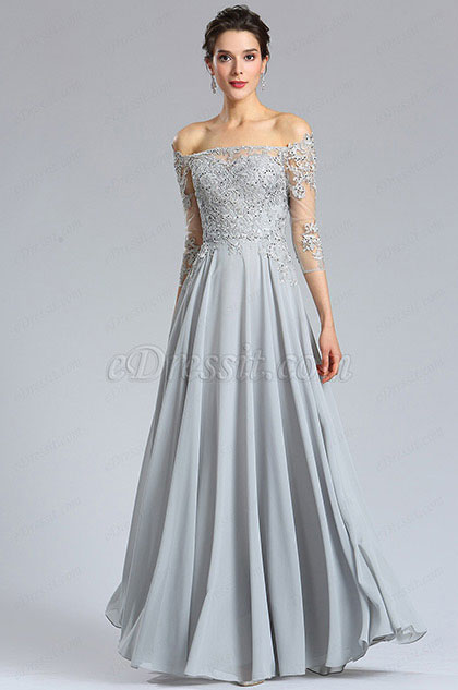 e3112b529afd eDressit Long Sleeves Grey lace Formal Evening Dress (36181908)