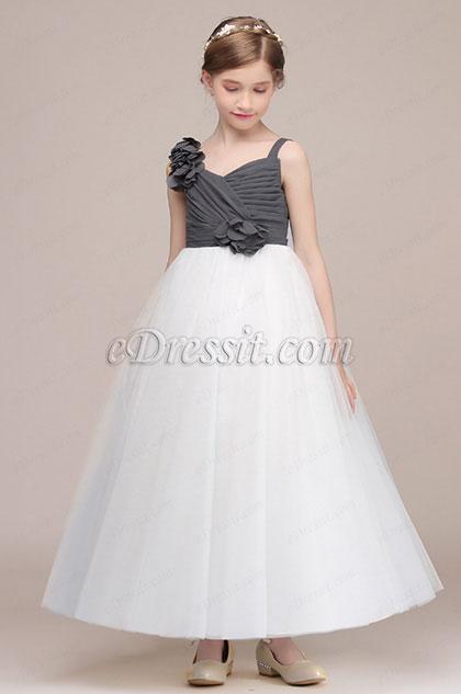 bd4d0199a49c eDressit Grey / White Tulle Wedding Flower Girl Dress (27194007)