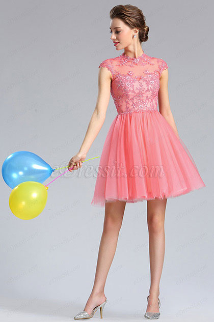 eDressit Lace Applique Coral Cocktail Dress Party Dress (04181457)