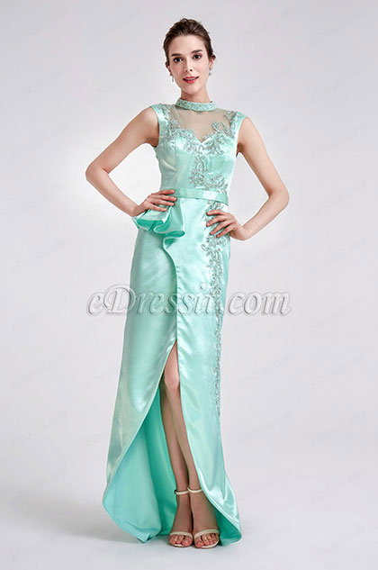 eDressit Green High Neck Slit Ball Party Long Dress (02190704)