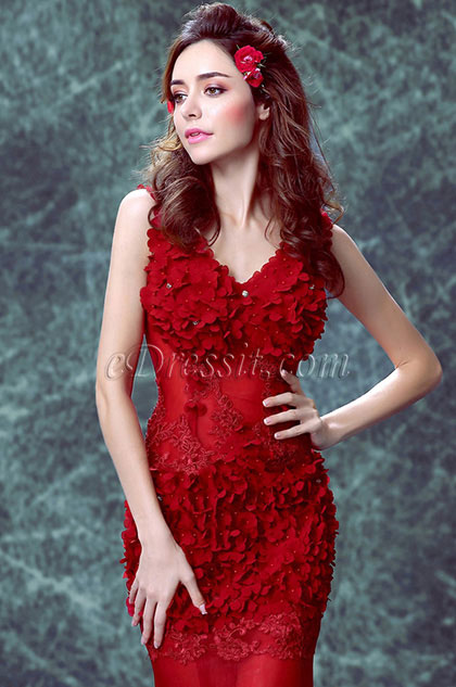 eDressit V-Cut Red Flower Mermaid Formal Women Party Dress (36190902)