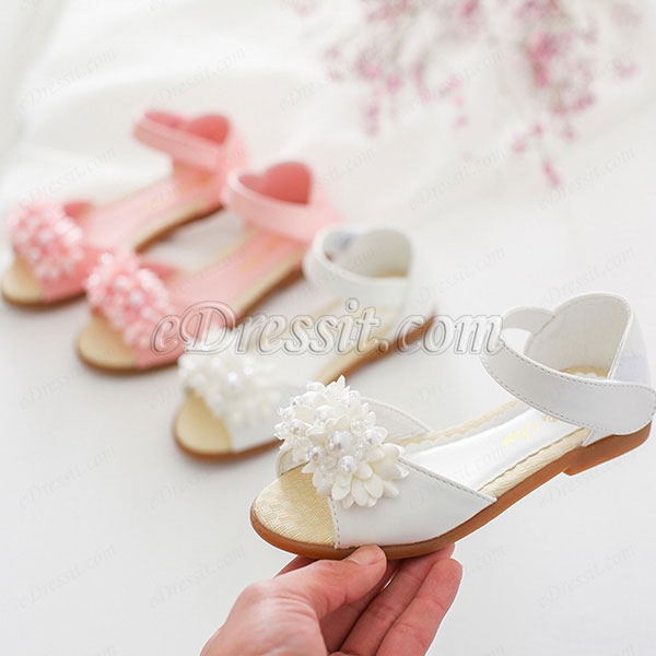 Girl's Open Toe Leather Flat Flower Sandals Shoes (250039)