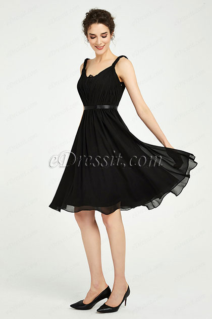 eDressit Black Twisted Straps Short Party Cocktail Dress (04190900)