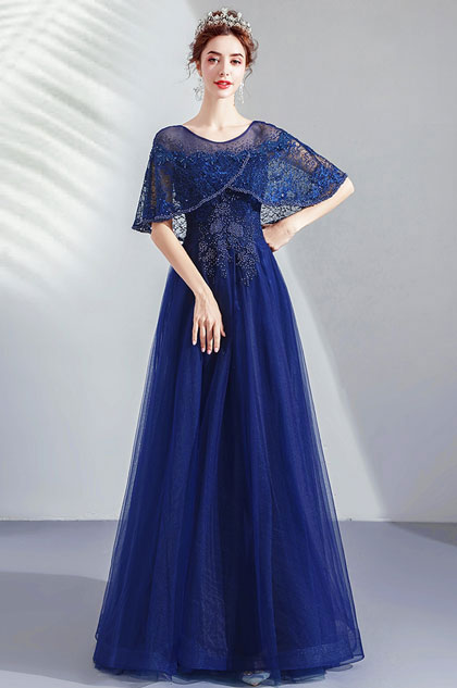 eDressit Blue Cape Embroidery Beaded Gown Party Dress (36213705)