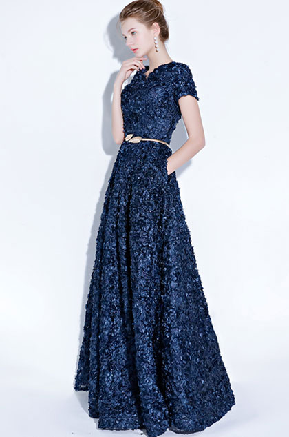 eDressit Blue Short Sleeves Floral Long Party Evening Ball Dress (36218105)