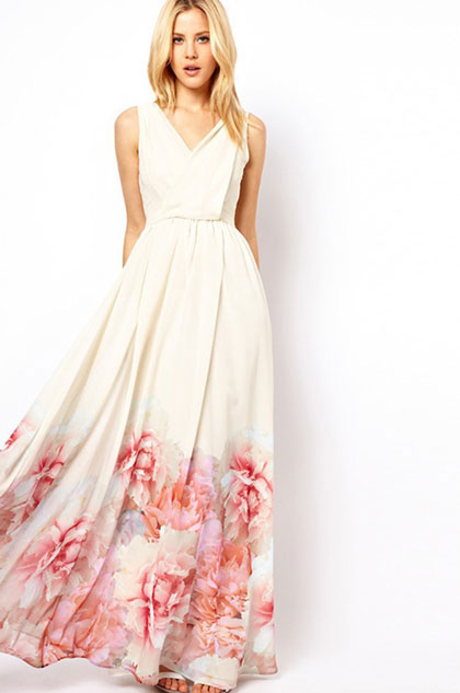 eDressit Sexy V Col Printed Dress Summer Dress (36214707)