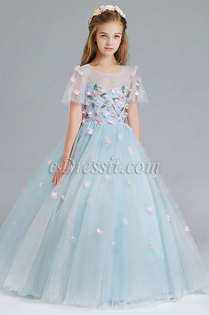 eDressit Light Blue Handmade Wedding Flower Girl Party Dress (27197605)