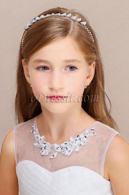 eDressit Beads Girl Silver Headwear Hair Hoop  (13190426)