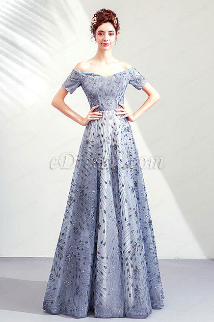 eDressit Sexy Grey Off Shoulder Beaded Party Formal Gown (36205708)
