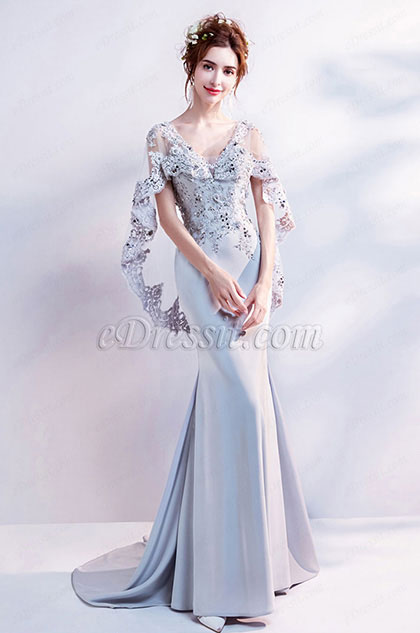 eDressit Grey Embroidery Cape V-Cut Party Evening Dress (36192908)
