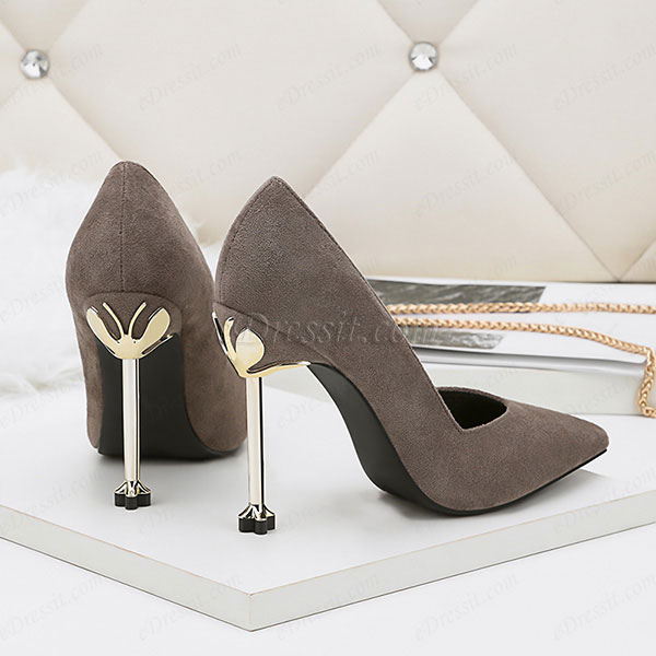 9f2b88eab3157 ... Women's Suede Sexy Kitten High Heel Pumps Shoes (0919016). Grey