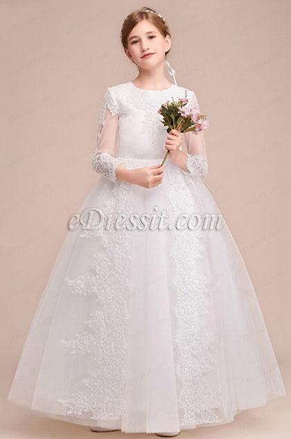 eDressit Romantic Long Sleeves  Wedding Flower Girl Party Dress (27193607)