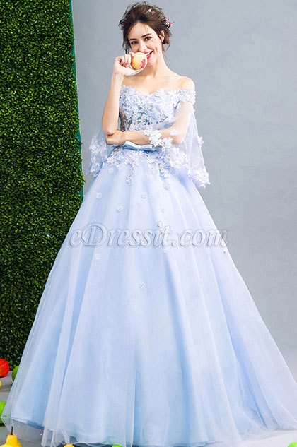 Blue OFF Shoulder Embroidery Prom Evening Dress