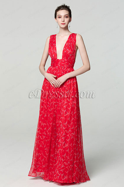 eDressit Sexy Plunging V-Cut Strap Print Floral Prom Ball Dress (00183168L)