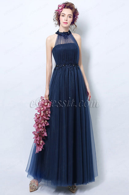 eDressit Navy Blue Pleated Halter Formal Evening Dress (36197605)
