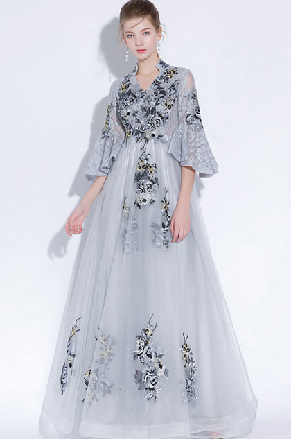 eDressit Grey High Neck Embroidery Evening Dress Formal Wear (36217008)
