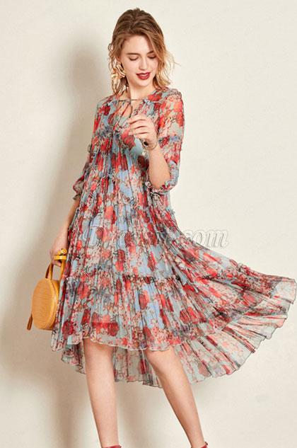 eDressit Simple Silk Printed Dress Women Dress Summer Dress (30192246)