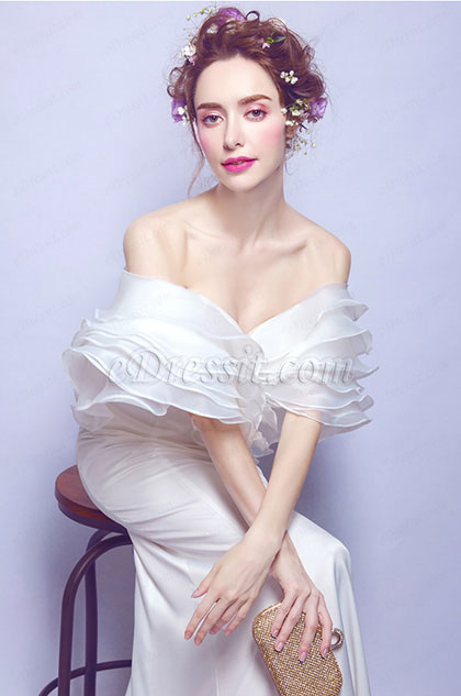 eDressit Unique OFF Shoulder White Long Wedding Party Dress (36193907)