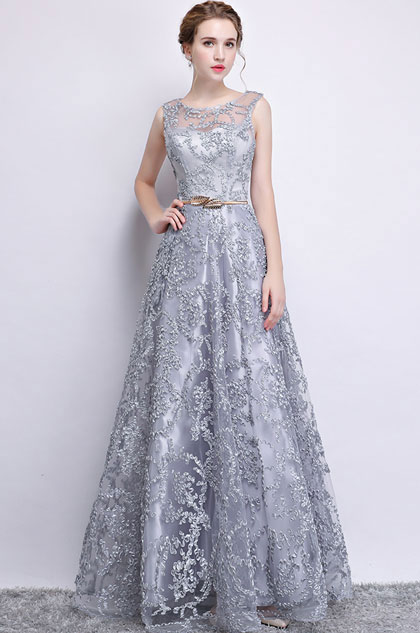 eDressit Grey Sleeveless Lace Applique Tulle Party Dress (36216108)
