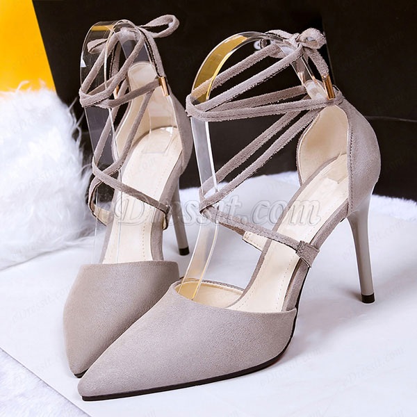 Women's Elegant Suede Closed Toe High Heel Pumps Shoes (0919029)