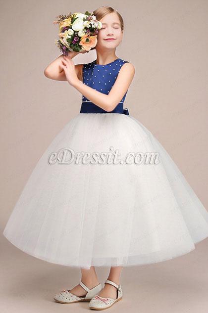 eDressit Robe Longue pour Fille Bleu & Blanche (27192305)