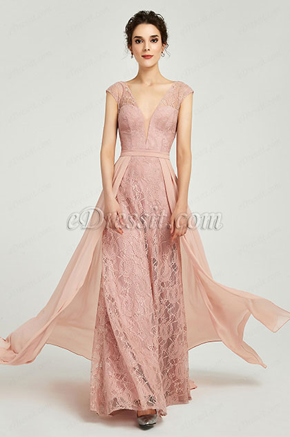 New Cap Sleeves V-Neck Prom Gown Evening Dress