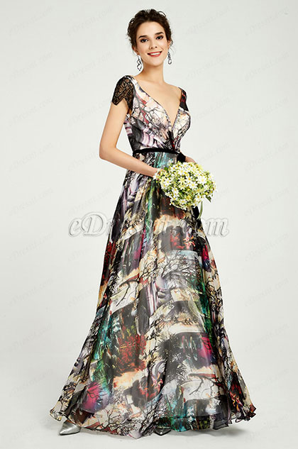 eDressit tiefen V-Ausschnitt Blumen Print Party Kleid(00191068)
