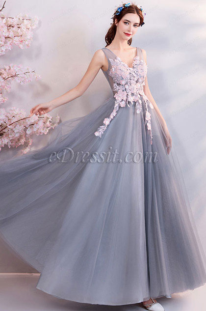 eDressit Sexy Grey Embroidery Tulle Party Prom Dress (36205908)