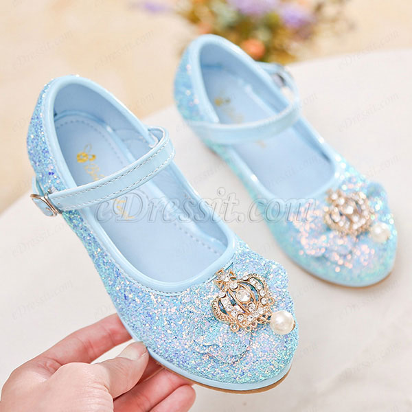 Girl's Crown Sequin Round Toe Leather Flat Heel Flower Girl Shoes (250038)