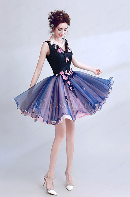 eDressit Blue Sexy V-Cut Flower Elegant Cocktail Party Dress (35191106)