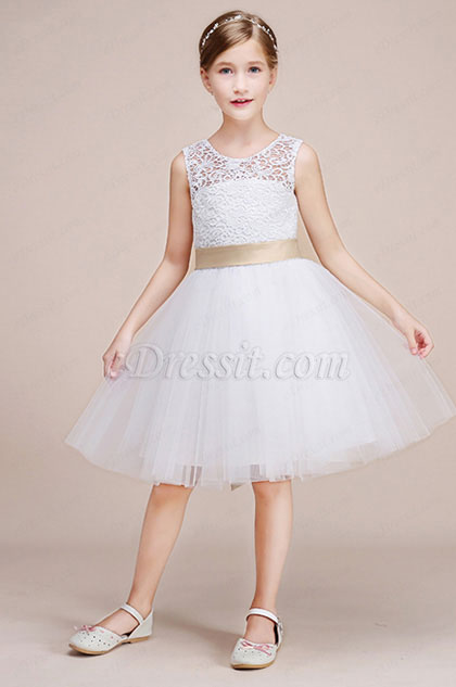 eDressit Satin Waistband Lace Sleeveless Flower Girl Dress (28193207)