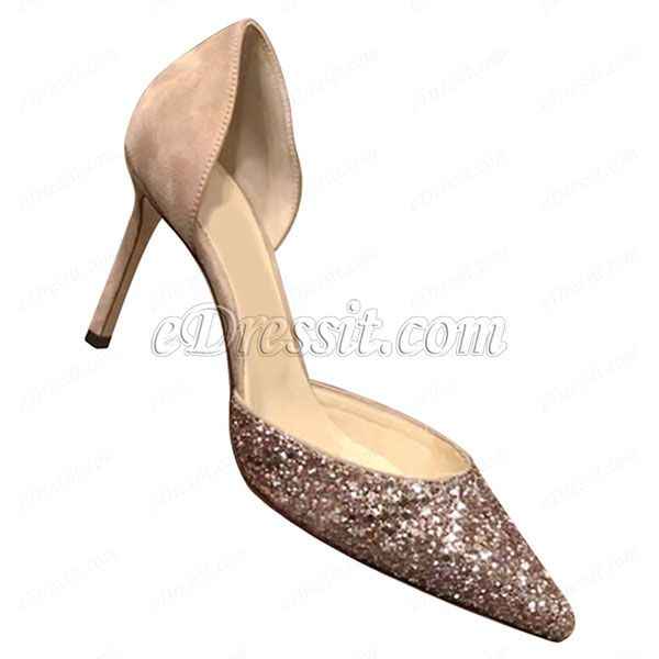 Women Chic Sequins Toe Closed High Heels Shoes (0919101)