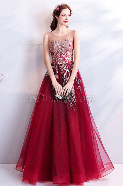 eDressit Burgundy Embroidery Sleeveless Prom Party Dress (36193002)
