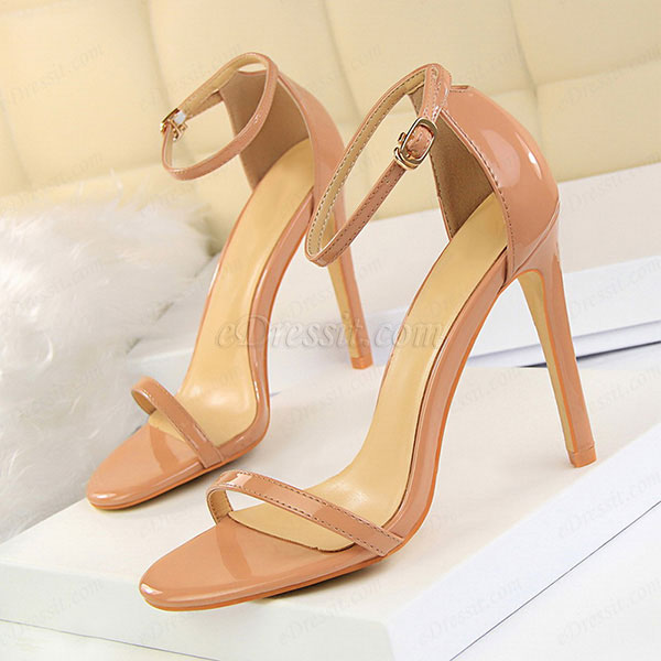 Women's Open Toe Buckle High Heel Sandals Shoes (0919019)