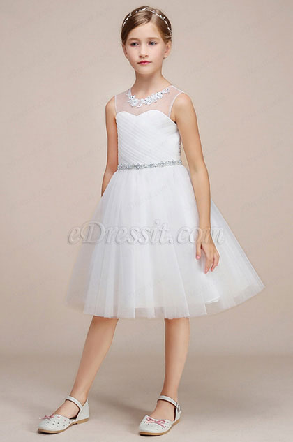 White Tulle Wedding Flower Girl Party Dress