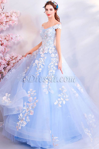 Light Blue Off-Shoulder Lace Applique Tulle Party Prom Dress