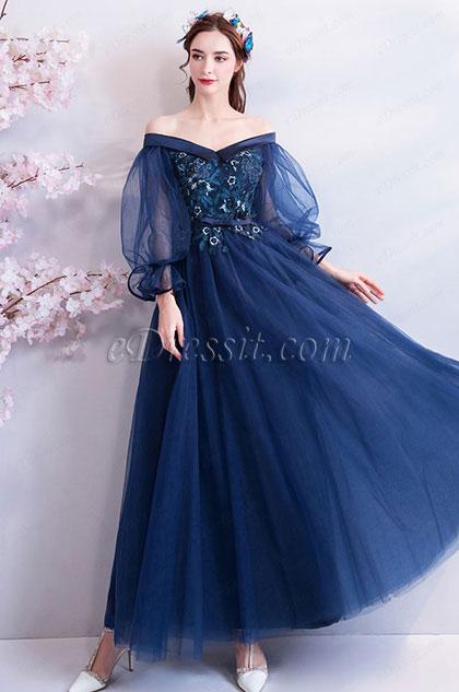eDressit Dark Blue OFF Shoulder Embroidery Women Party Dress (36201205)