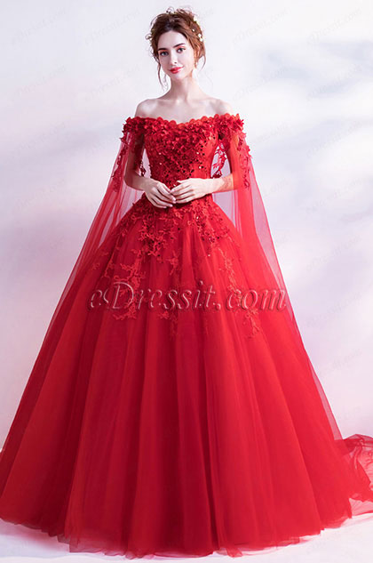 eDressit Sexy Red Flower OFF Shoulder Puffy Party Ball Dress (36192602)