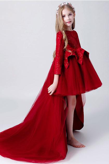 eDressit Burgundy 3/4 Sleeves Flower Girl Dress (28200517)