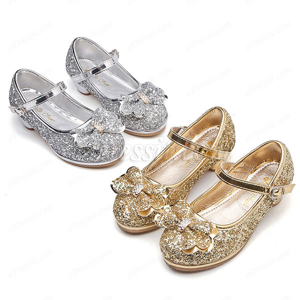 Girl's Sequin Round Toe Leather Flat Heel Flower Girl Shoes (250035)