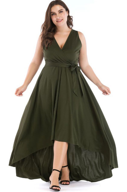 eDressit Plus Size High Low V Neck Sleeveless Ball Gown (31190304)