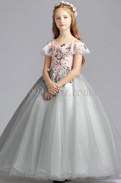 eDressit Light Grey Handmade Wedding Flower Girl Party Dress (27200208)