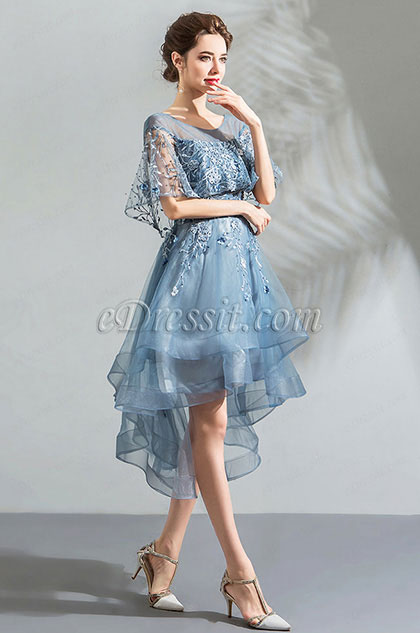 eDressit Blue Cape Top Embroidery Layer Tulle Party Dress  (35196032)