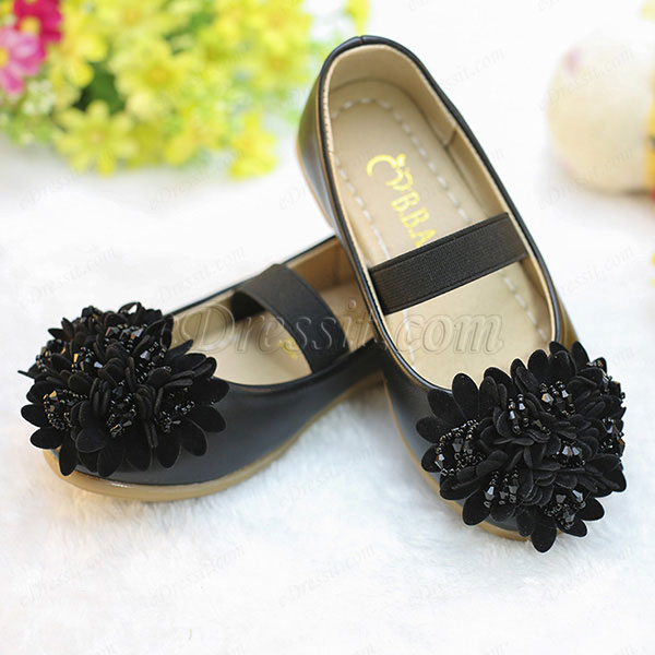 eDressit Black Girl's Round Toe Leather Flat Dance / Party Shoes (250007)