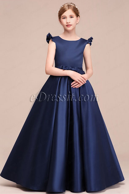 eDressit Empire Navy Blue Long Flower Girl Dress (27193305)
