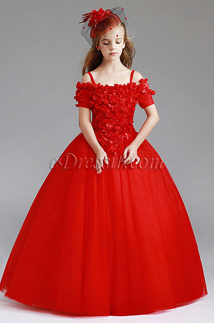 Red Off Shoulder Children Wedding Flower Girl Dress