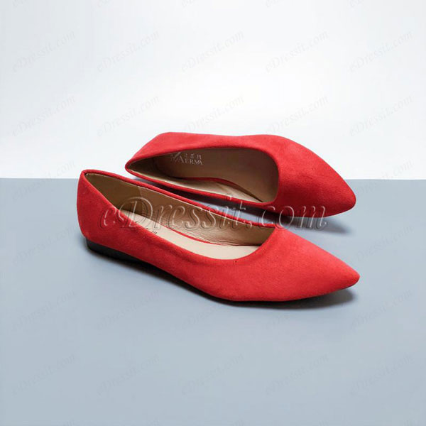 eDressit Women Suede Toe Closed Pointed Flat Shoes (0919058)